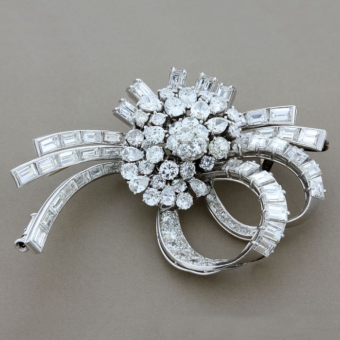 Estate Diamond Platinum Brooch & Pendant