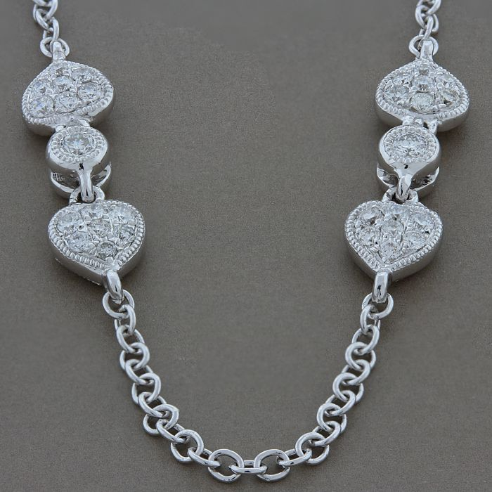 Two-Sided Diamond Gold Heart Necklace