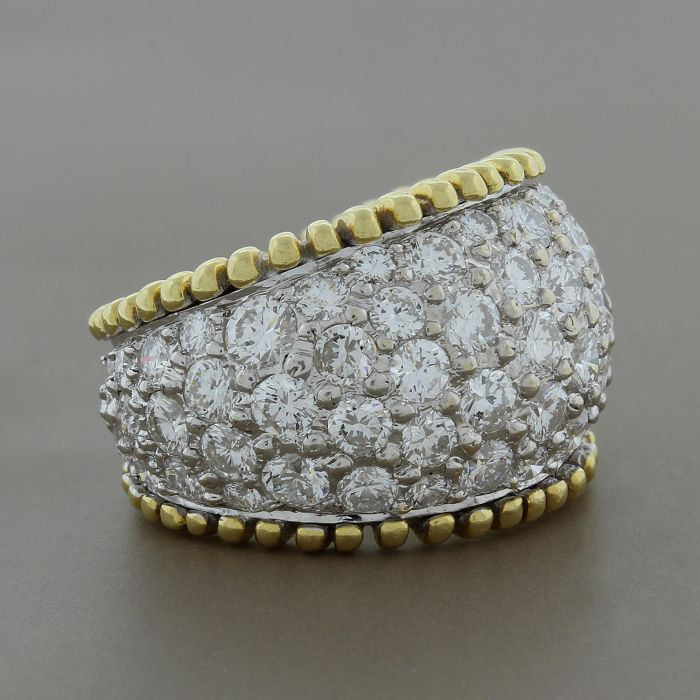 Estate Diamond Bombe Gold Ring