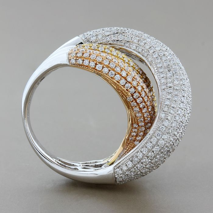 Diamond Tri-Tone Gold Crossover Ring