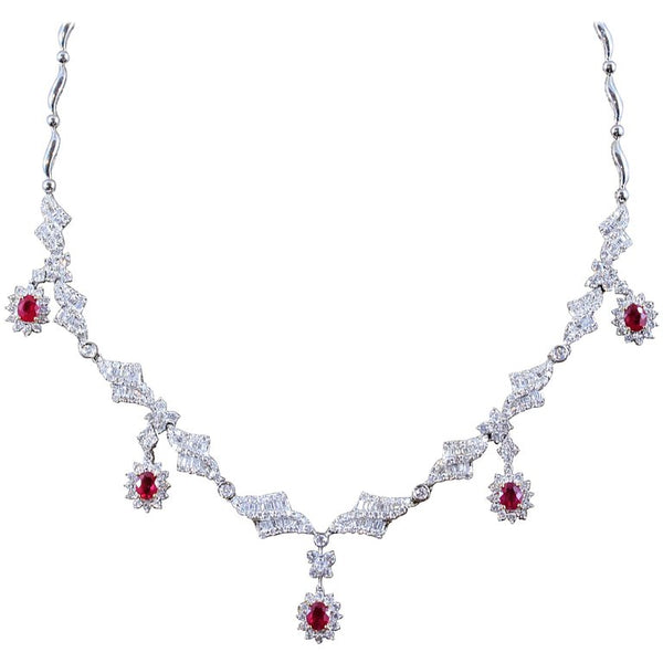 Ruby Diamond Gold Evening Drop Necklace