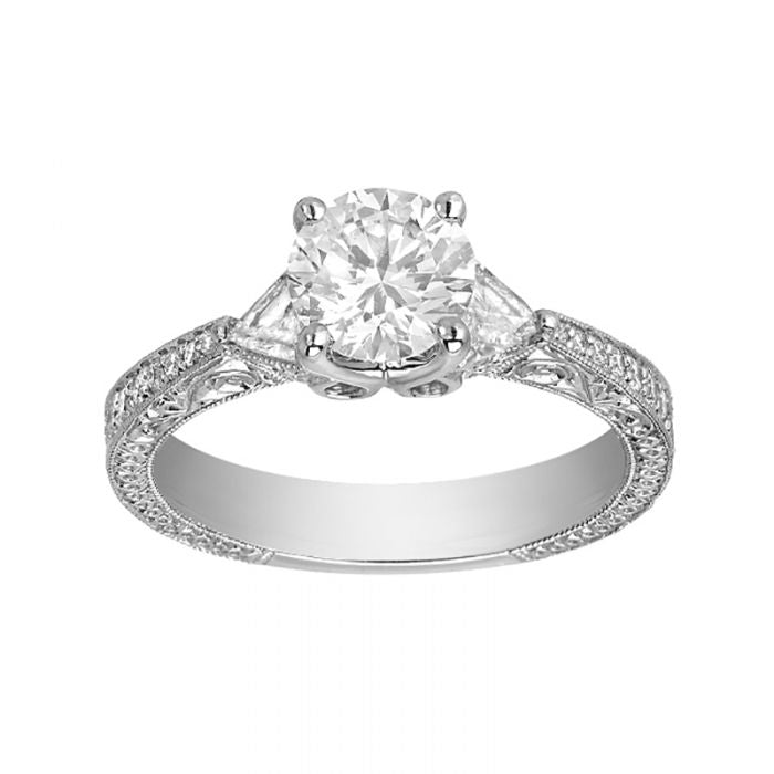1.07 Carat Round Cut Diamond J-VVS2 Gold Engagement Ring, GIA