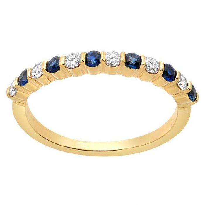 Gemlok Blue Sapphire Diamond Gold Band Ring