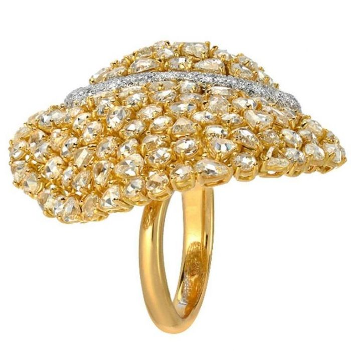 Modern Diamond Gold Flexible Cocktail Ring