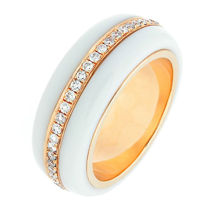 White Onyx Diamond Gold Eternity Band Ring