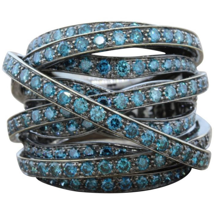 Fancy Blue Diamond Black Gold Crossover Ring