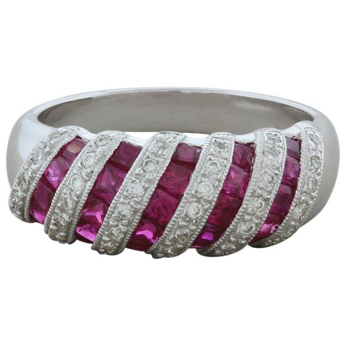 Ruby Diamond Striped Gold Band Ring