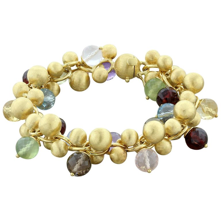 Multi-Color Gemstone Bead Gold Bracelet