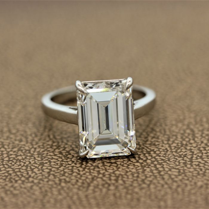 GIA Certified 6.58ct Emerald Cut Diamond Engagement Ring, H-VS1