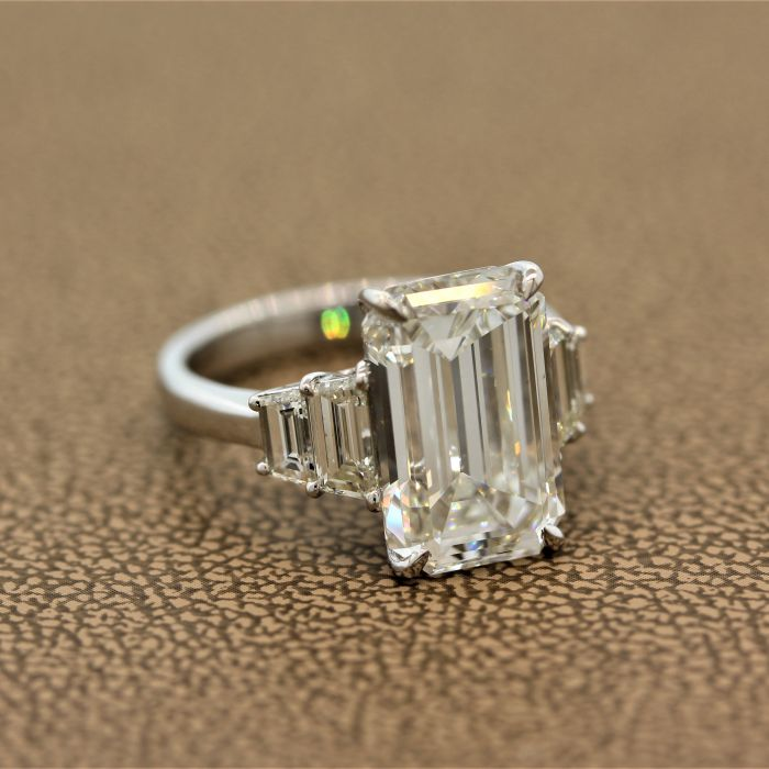 GIA Certified 6.40ct Emerald Cut Diamond Engagement Ring, J-VVS2