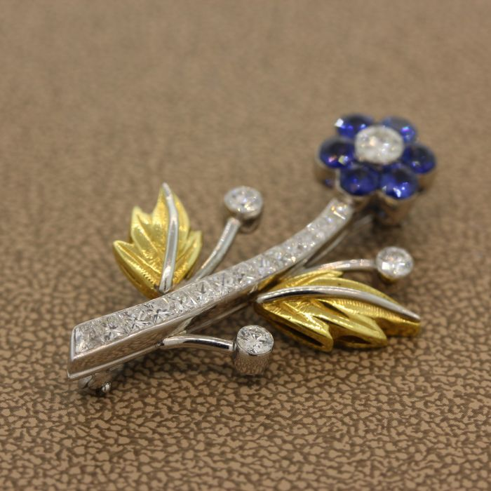 Sapphire Diamond Platinum Gold Flower Brooch