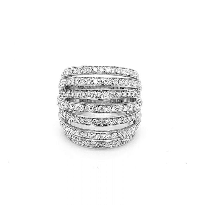 Diamond Gold Wide Crossover Band Ring