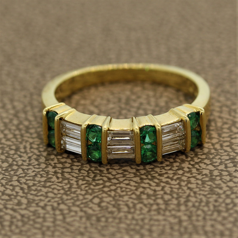 Gemlok Diamond Emerald Gold Band Ring