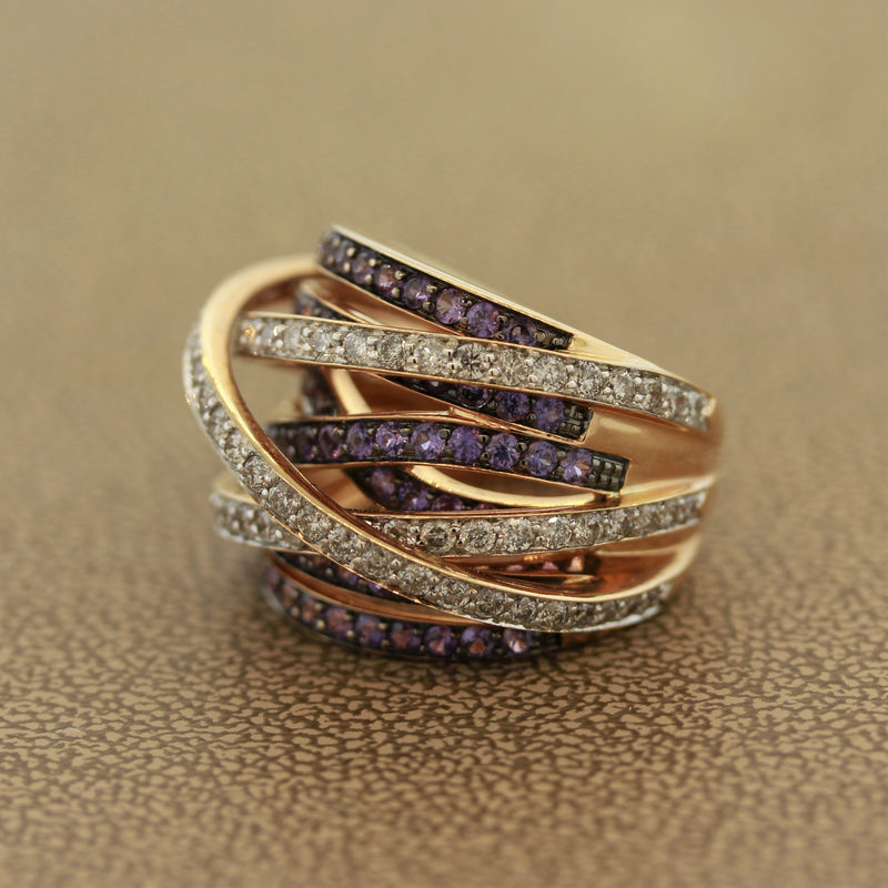 Diamond Purple Sapphire Gold Bridge Ring Band
