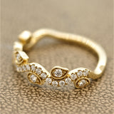 Diamond Gold Filigree Ring Band