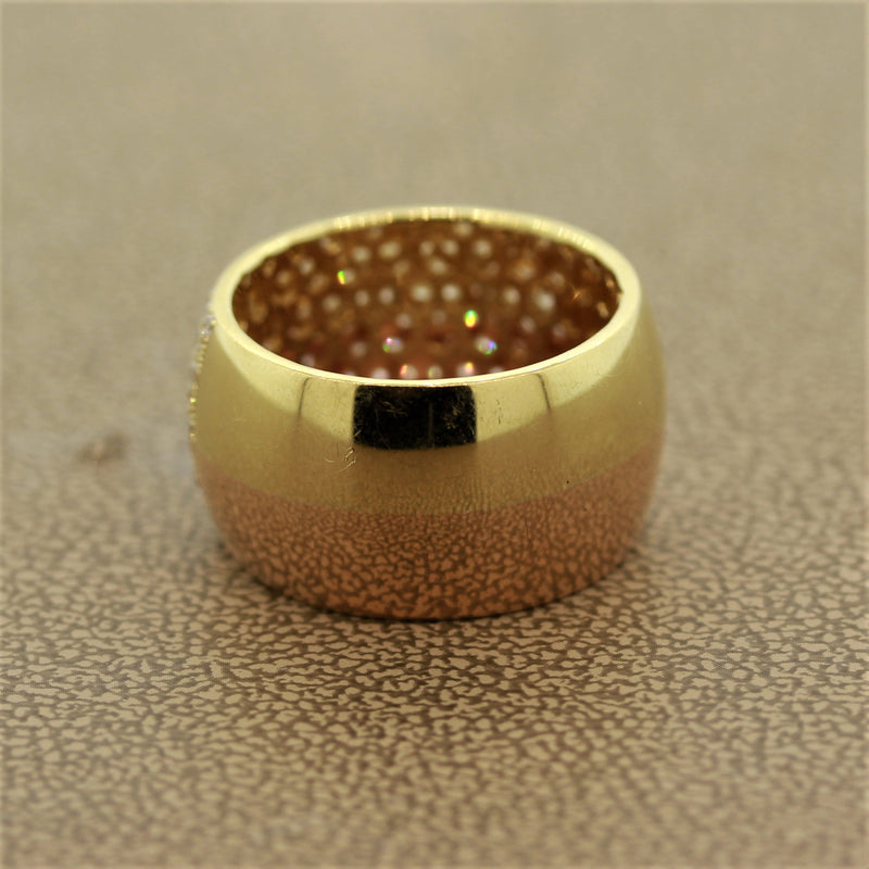 Diamond Gold Two-Tone Wide Band Ring