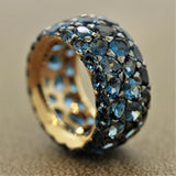 London Blue Topaz Gold Wide Eternity Band Ring