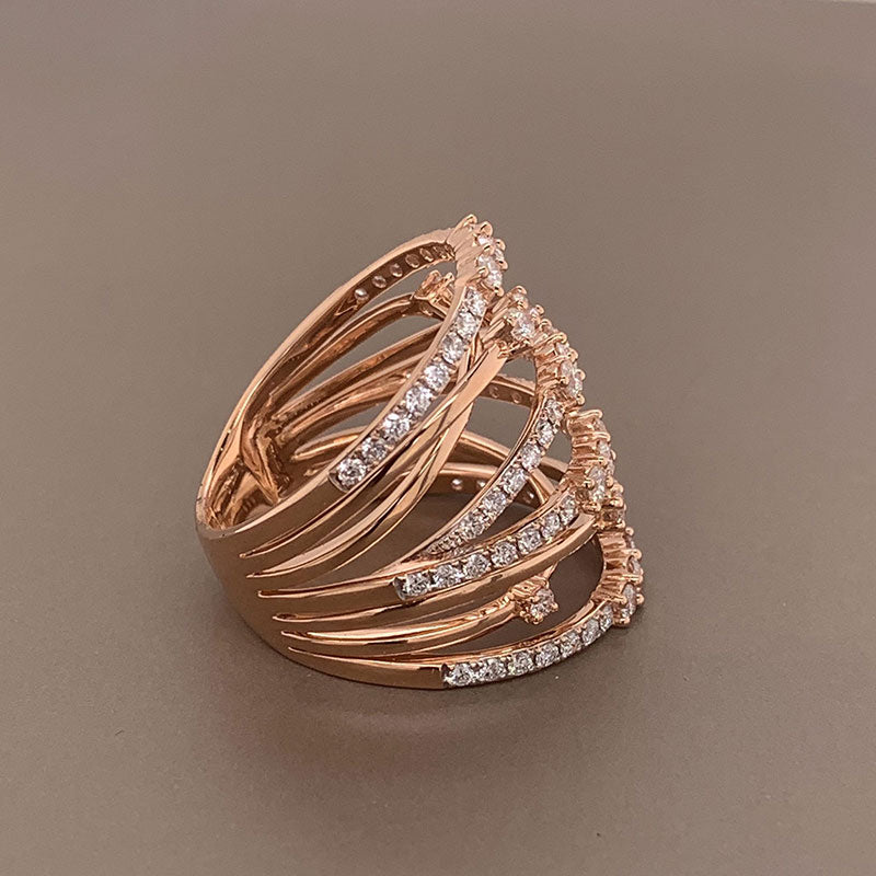 Wide Diamond Gold Ring Band