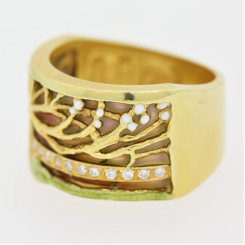 Masriera Plique-a-Jour Enamel Diamond Gold Ring Band