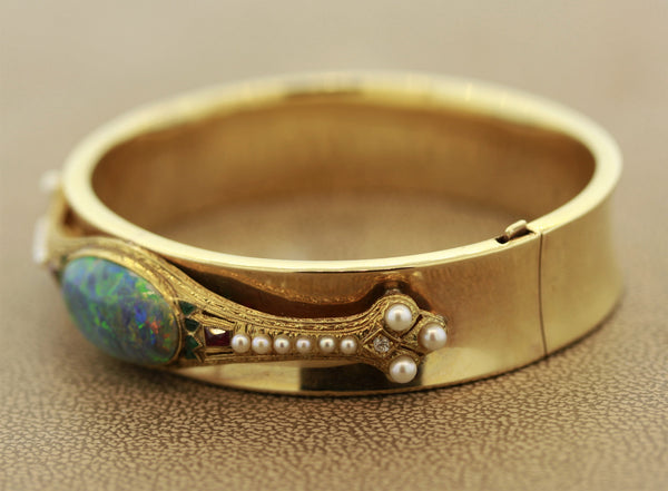 Fine Australian Opal Diamond Ruby Emerald Seed Pearl Gold Bangle Bracelet
