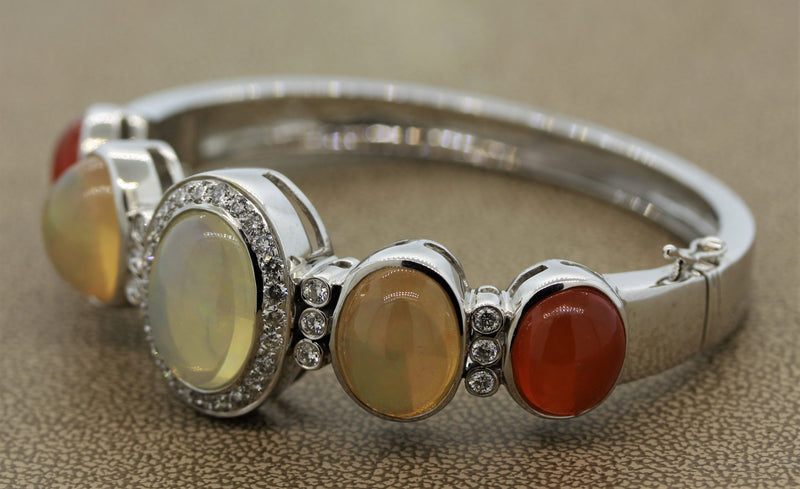 Crystal & Jelly Opal Diamond Gold Bangle Bracelet