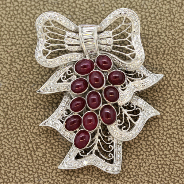 Diamond Ruby Gold Mistletoe Brooch