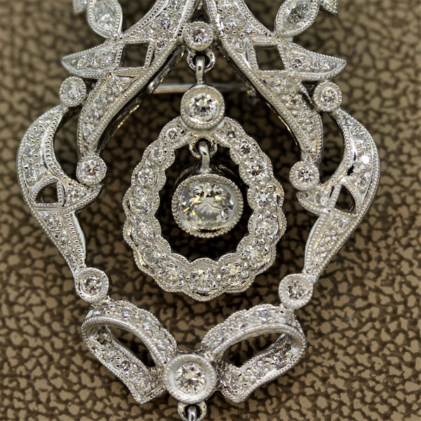 Mid-Century Diamond Platinum Dangle Drop Pendant-Brooch