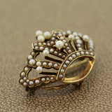 Antique Seed-Pearl Gold Crown Brooch-Pendant