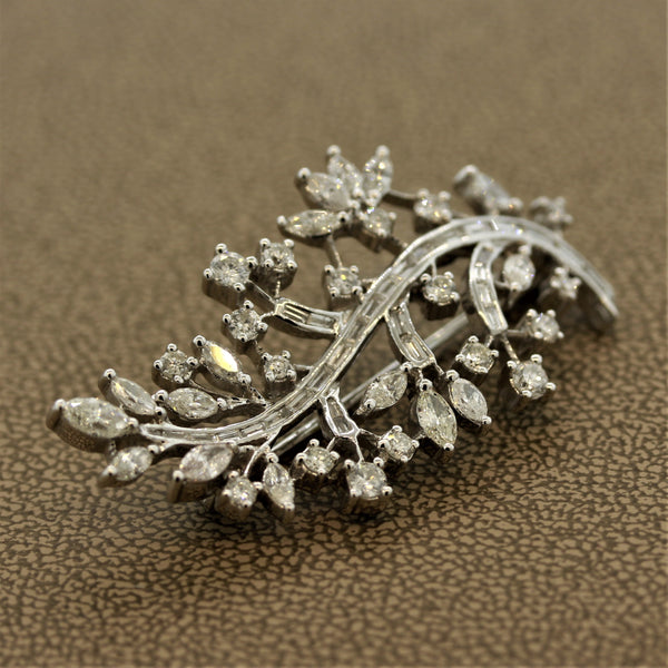 Diamond Gold Floral Spray Brooch