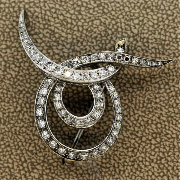 Mid-Century Diamond Gold Swirl Brooch