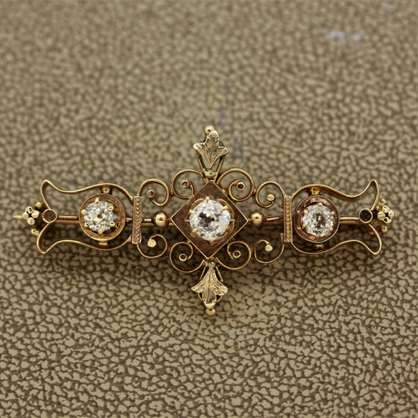 Victorian Diamond Gold Pin Brooch