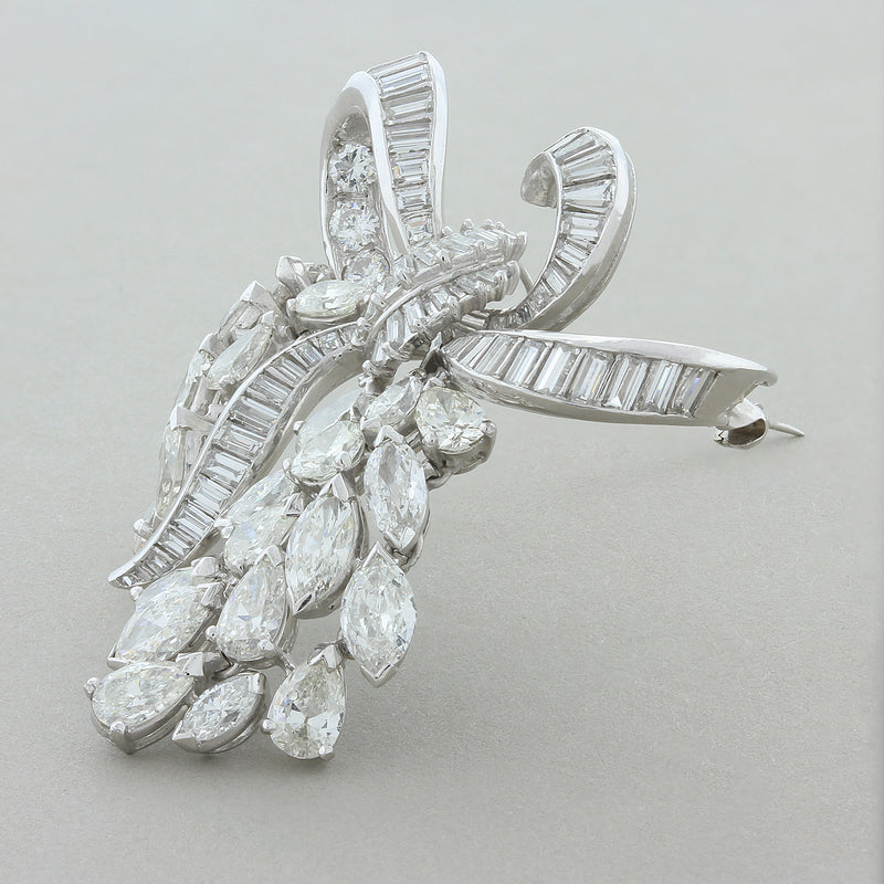 Midcentury Diamond Platinum Bow Pendant Brooch