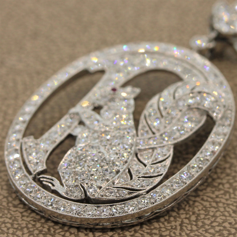 Art Deco Diamond Ruby Squirrel Platinum Brooch