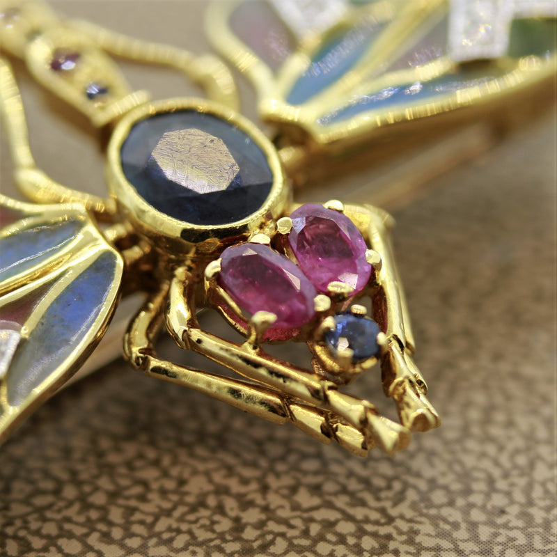 Plique-a-Jour Enamel Diamond Sapphire Ruby Gold Dragonfly Brooch