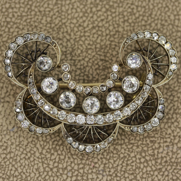 Antique Diamond Gold Silver-topped Brooch