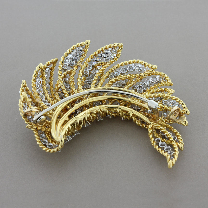 Estate Diamond Gold Feather Brooch
