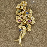 Multi-Color Sapphire Diamond Gold Swirl Brooch