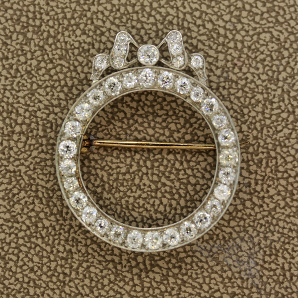 Edwardian Diamond Platinum Circle Pin Brooch