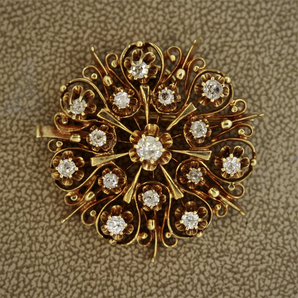 Victorian Diamond Gold Wheel Brooch