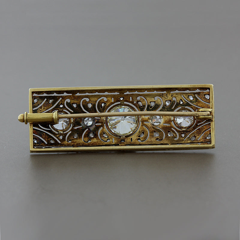 Art Deco Diamond Platinum Gold Brooch