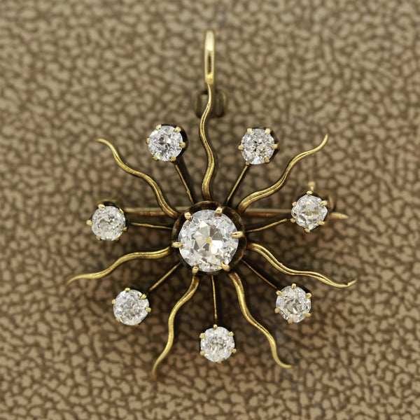 Victorian Diamond Gold Sunburst Pin Brooch