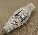 Art Deco Diamond Sapphire Platinum Pin Brooch