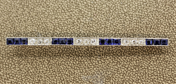 Art Deco Diamond Sapphire Platinum Bar Pin