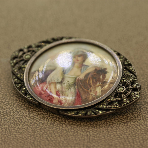 Silver Portrait Brooch