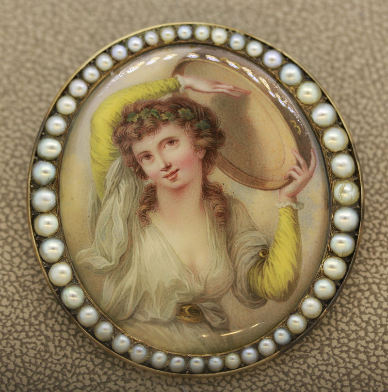 Victorian Porcelain Seed-Pearl Gold Pendant-Brooch