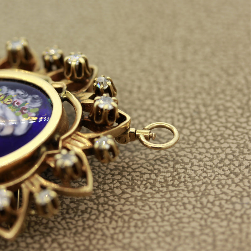 French Victorian Antique Porcelain Diamond Gold Pendant-Brooch