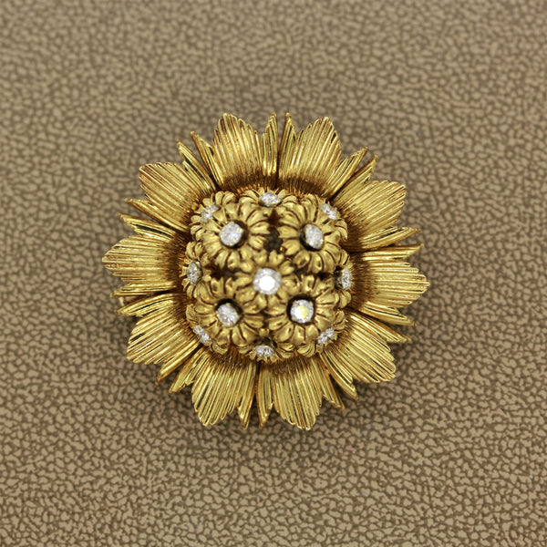 French Diamond Gold Sunflower Brooch