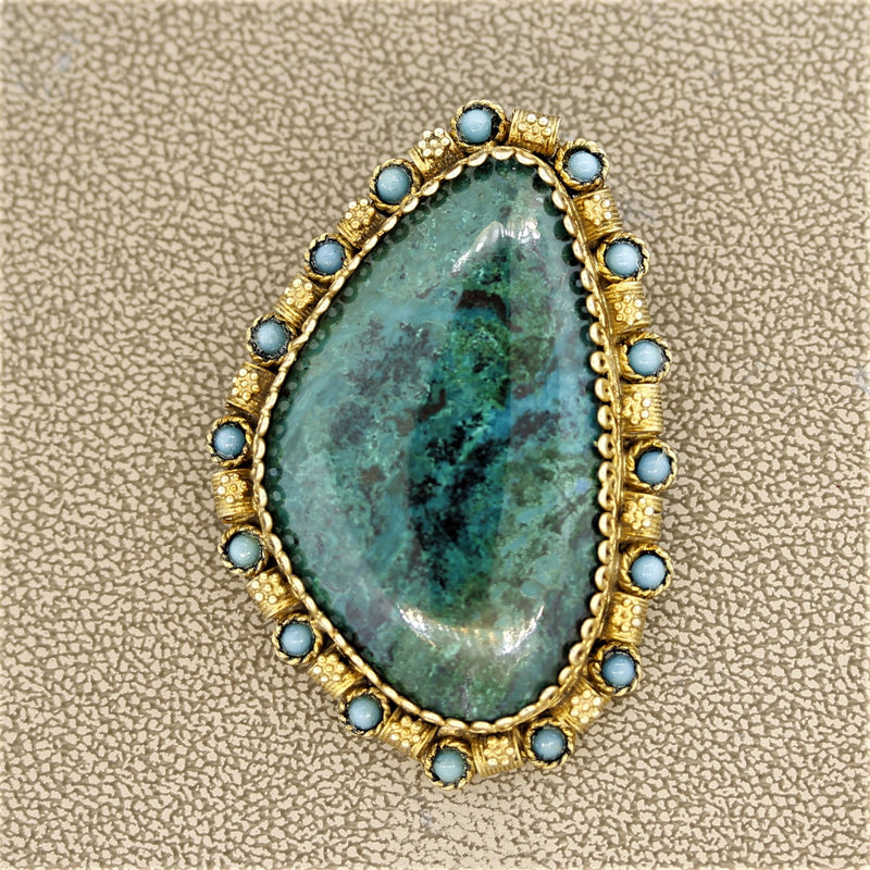 Malachite Turquoise Silver Brooch