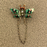 Victorian Enamel Seed Pearl Gold Butterfly Brooch and Pendant
