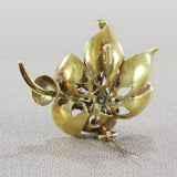 Italian Enamel Diamond Gold Flower Brooch